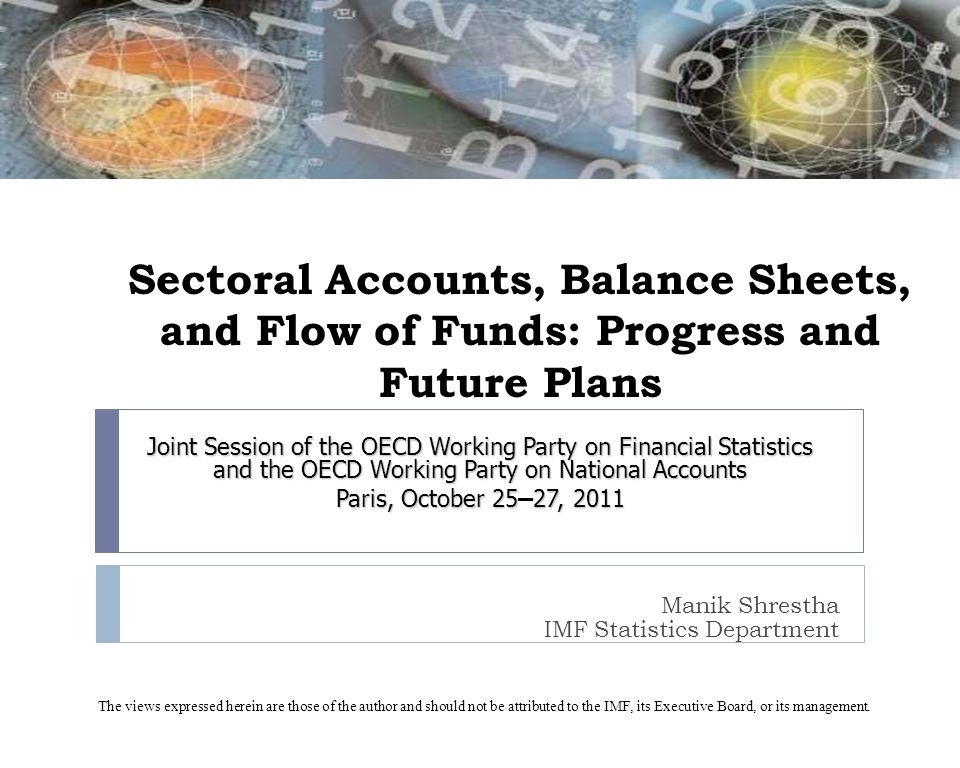 Sectoral Accounts, Balance Sheets, and Flow of Funds: Progress and Future Plans Manik Shrestha IMF Statistics Department Joint Session of the OECD Wor