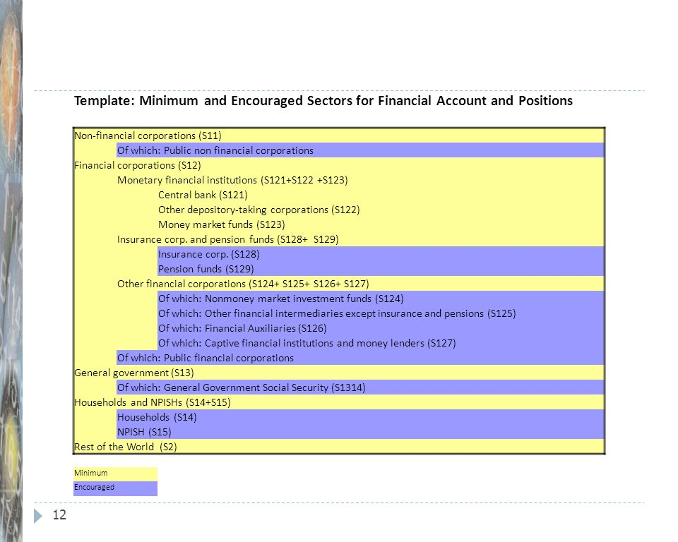 12 Template: Minimum and Encouraged Sectors for Financial Account and Positions Non-financial corporations (S11) Of which: Public non­ financial corpo
