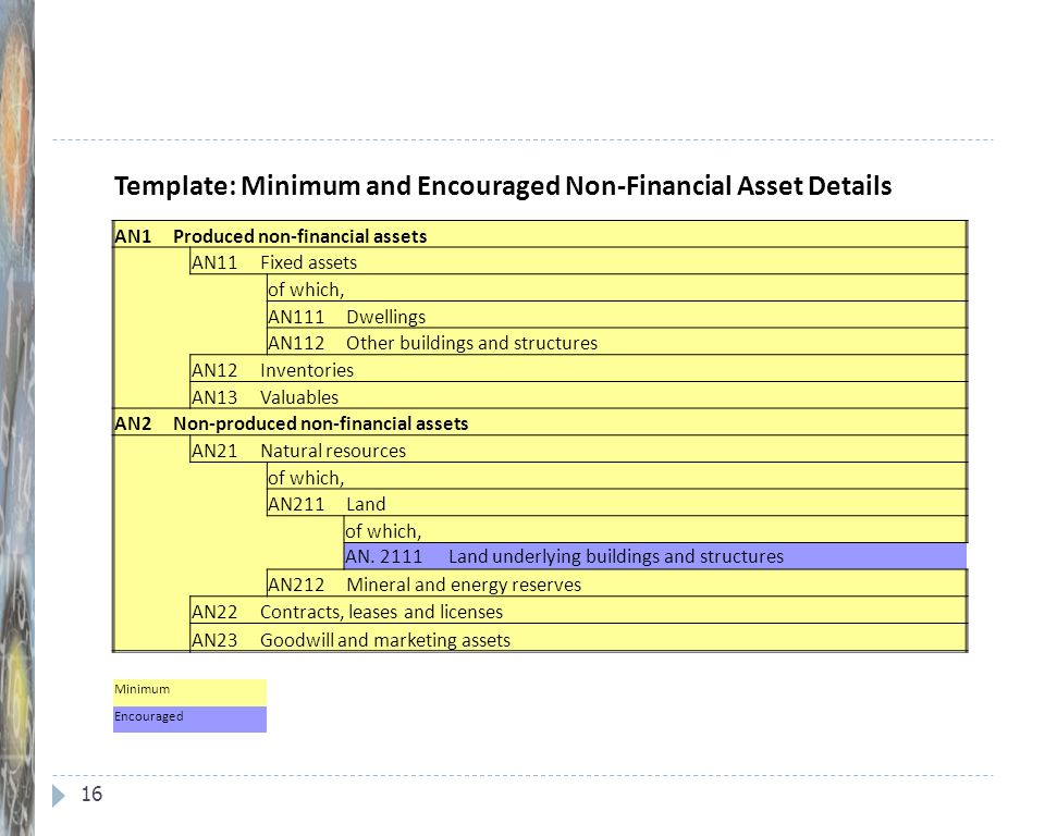 16 Template: Minimum and Encouraged Non-Financial Asset Details AN1 Produced non-financial assets AN11 Fixed assets of which, AN111 Dwellings AN112 Ot
