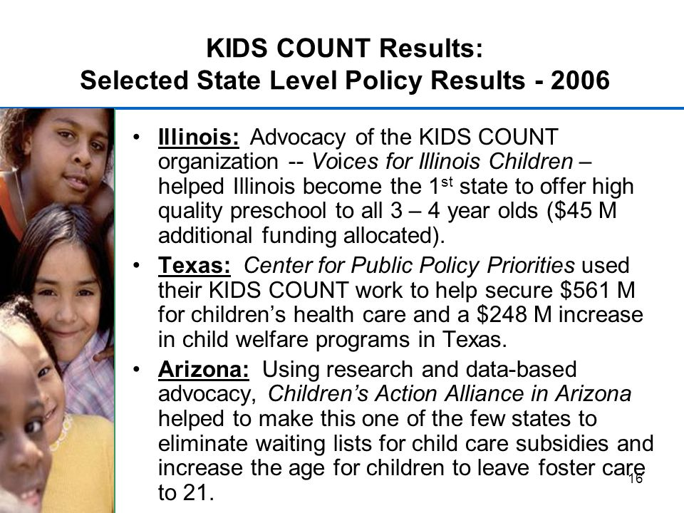 16 KIDS COUNT Results: Selected State Level Policy Results - 2006 Illinois: Advocacy of the KIDS COUNT organization -- Voices for Illinois Children – helped Illinois become the 1 st state to offer high quality preschool to all 3 – 4 year olds ($45 M additional funding allocated).