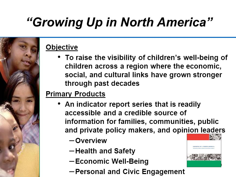 19 Growing Up in North America Objective To raise the visibility of childrens well-being of children across a region where the economic, social, and cultural links have grown stronger through past decades Primary Products An indicator report series that is readily accessible and a credible source of information for families, communities, public and private policy makers, and opinion leaders – Overview – Health and Safety – Economic Well-Being – Personal and Civic Engagement