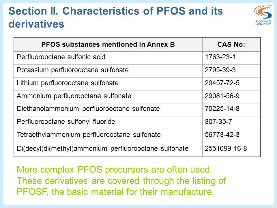 PFOS substances mentioned in Annex BCAS No: Perfluorooctane sulfonic acid1763-23-1 Potassium perfluorooctane sulfonate2795-39-3 Lithium perfluorooctan