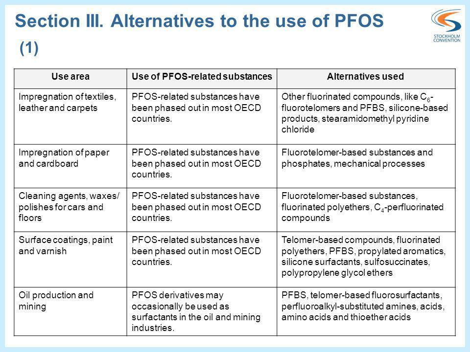 Use areaUse of PFOS-related substancesAlternatives used Impregnation of textiles, leather and carpets PFOS-related substances have been phased out in