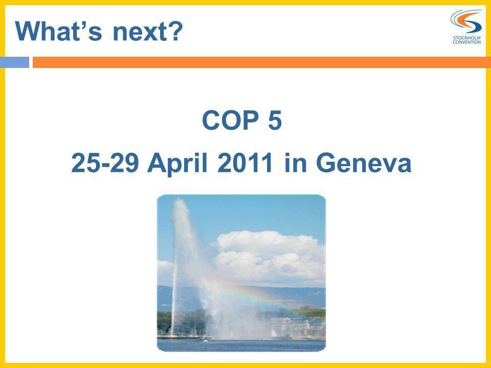 Whats next? COP 5 25-29 April 2011 in Geneva