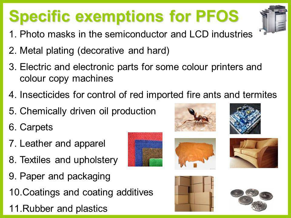 Risk management evaluation document for PFOS (2007 and 2008) UNEP/POPS/POPRC.3/20/Add.5 and UNEP/POPS/POPRC.4/15/Add.6 Efficacy and efficiency of possible control measures Alternatives (costs, risks, efficacy, accessibility) Positive/negative impacts of control measures on health, agriculture, biota, economic aspects, social costs Waste, disposal implications, stockpiles Access to information and public education Status of control and monitoring capacity Any national or regional control actions Information gathered in accordance with Annex F