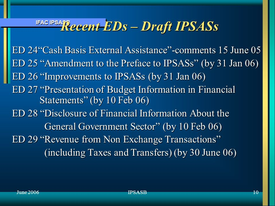 IFAC IPSASB June 200611IPSASB ATTACHMENT – Other Active Projects on IPSASB Agenda Social Policy Obligations (Pensions, Non-Pensions) Government Employee Benefits (Pensions and other) Heritage Assets Presentation of Budget Information in Financial Statements Disclosure of Information: General Government Sector Impairment of Cash Generating Assets Conceptual Framework Review implementation of Cash Basis IPSAS Disclosures by Recipients of External Assistance (Cash basis) Ongoing review of applicability of IFRSs to public sector