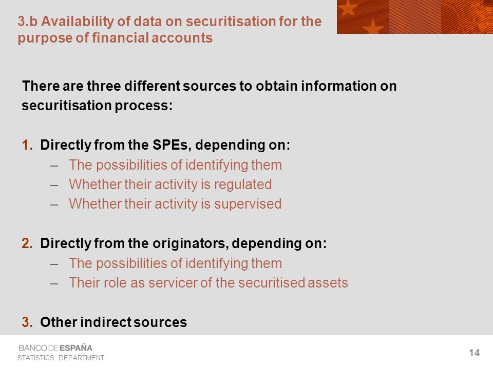 STATISTICS DEPARTMENT 14 3.b Availability of data on securitisation for the purpose of financial accounts There are three different sources to obtain information on securitisation process: Directly from the SPEs, depending on: –The possibilities of identifying them –Whether their activity is regulated –Whether their activity is supervised Directly from the originators, depending on: –The possibilities of identifying them –Their role as servicer of the securitised assets Other indirect sources