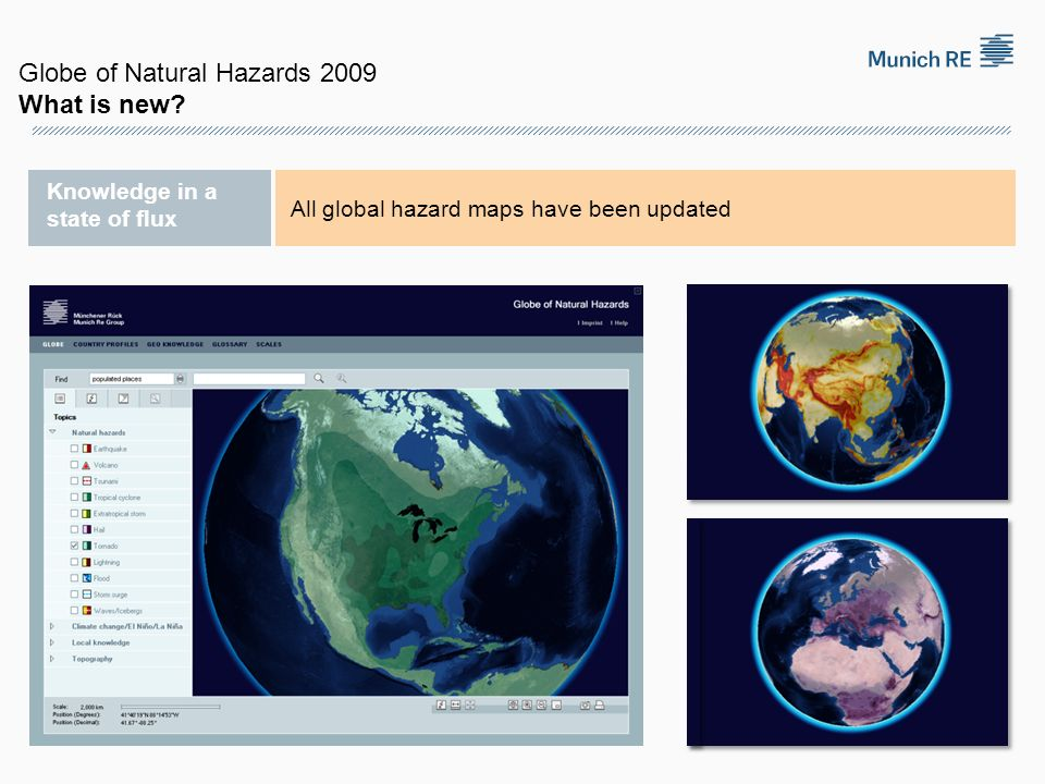 Knowledge in a state of flux All global hazard maps have been updated Globe of Natural Hazards 2009 What is new?