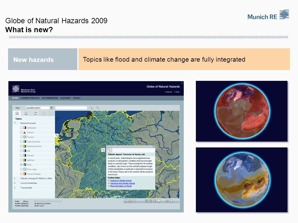 New hazards Topics like flood and climate change are fully integrated Globe of Natural Hazards 2009 What is new?