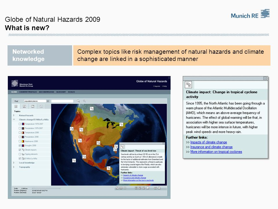 Networked knowledge Complex topics like risk management of natural hazards and climate change are linked in a sophisticated manner Globe of Natural Ha