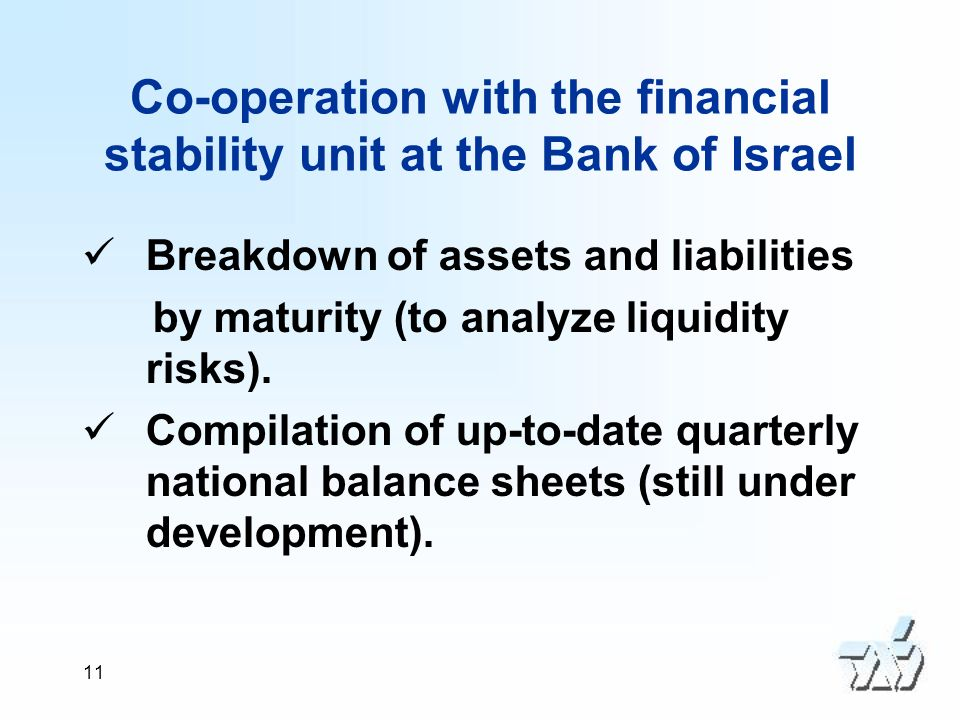 11 Co-operation with the financial stability unit at the Bank of Israel Breakdown of assets and liabilities by maturity (to analyze liquidity risks).