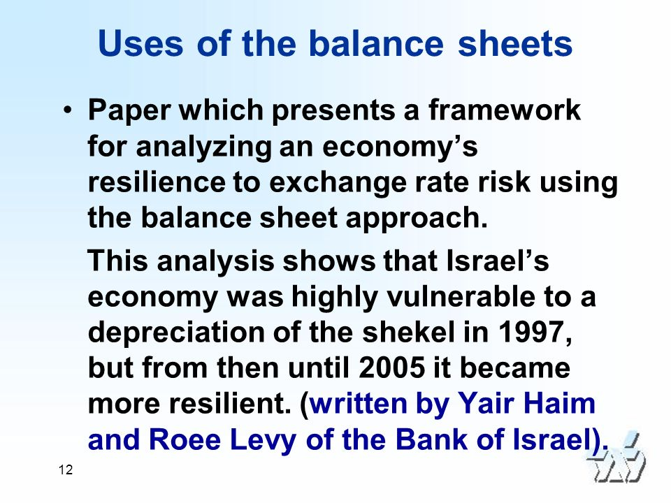 12 Uses of the balance sheets Paper which presents a framework for analyzing an economys resilience to exchange rate risk using the balance sheet approach.