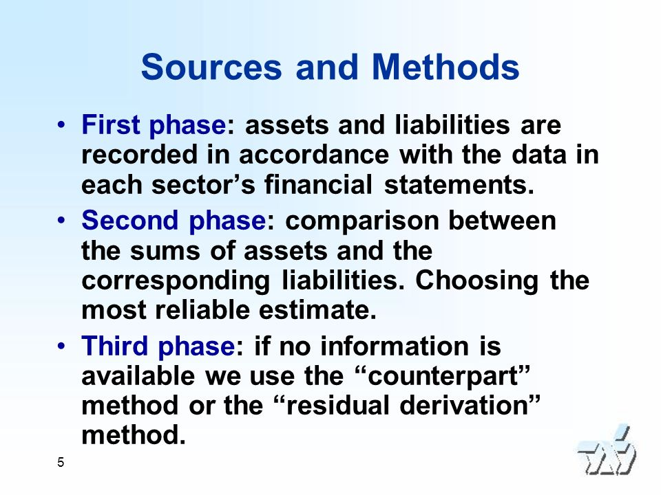5 Sources and Methods First phase: assets and liabilities are recorded in accordance with the data in each sectors financial statements.