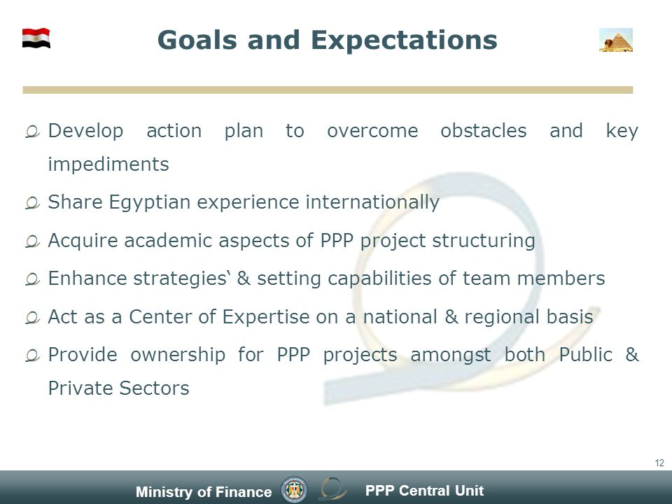 PPP Central Unit Ministry of Finance 12 Goals and Expectations Develop action plan to overcome obstacles and key impediments Share Egyptian experience internationally Acquire academic aspects of PPP project structuring Enhance strategies & setting capabilities of team members Act as a Center of Expertise on a national & regional basis Provide ownership for PPP projects amongst both Public & Private Sectors