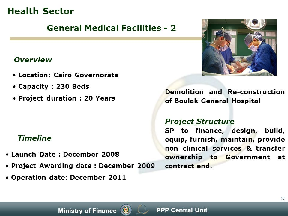 PPP Central Unit Ministry of Finance 18 Location: Cairo Governorate Capacity : 230 Beds Project duration : 20 Years Overview Timeline Launch Date : December 2008 Project Awarding date : December 2009 Operation date: December 2011 Demolition and Re-construction of Boulak General Hospital Project Structure SP to finance, design, build, equip, furnish, maintain, provide non clinical services & transfer ownership to Government at contract end.