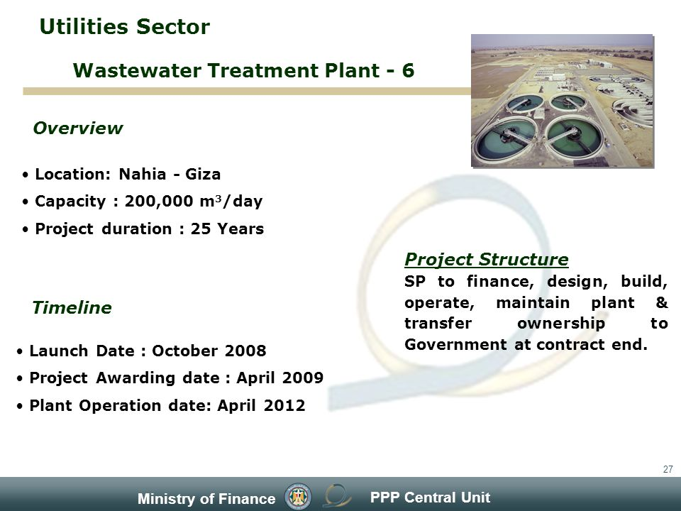 PPP Central Unit Ministry of Finance 27 Location: Nahia - Giza Capacity : 200,000 m 3 /day Project duration : 25 Years Overview Timeline Project Structure SP to finance, design, build, operate, maintain plant & transfer ownership to Government at contract end.