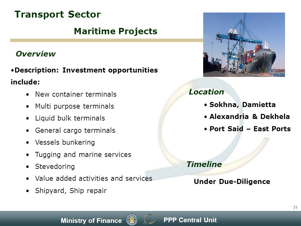 PPP Central Unit Ministry of Finance 31 Description: Investment opportunities include: New container terminals Multi purpose terminals Liquid bulk terminals General cargo terminals Vessels bunkering Tugging and marine services Stevedoring Value added activities and services Shipyard, Ship repair Overview Timeline Under Due-Diligence Maritime Projects Transport Sector Location Sokhna, Damietta Alexandria & Dekhela Port Said – East Ports