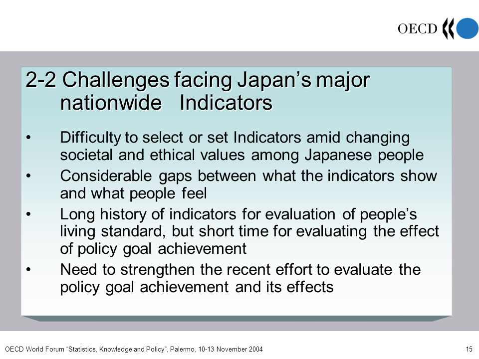 OECD World Forum Statistics, Knowledge and Policy, Palermo, 10-13 November 2004 15 2-2 Challenges facing Japans major nationwide Indicators Difficulty to select or set Indicators amid changing societal and ethical values among Japanese people Considerable gaps between what the indicators show and what people feel Long history of indicators for evaluation of peoples living standard, but short time for evaluating the effect of policy goal achievement Need to strengthen the recent effort to evaluate the policy goal achievement and its effects