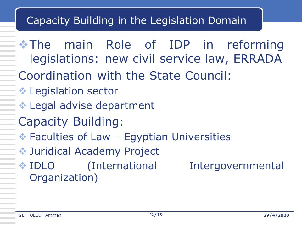 GL – OECD -Amman29/4/2008 15/19 Capacity Building in the Legislation Domain The main Role of IDP in reforming legislations: new civil service law, ERRADA Coordination with the State Council: Legislation sector Legal advise department Capacity Building : Faculties of Law – Egyptian Universities Juridical Academy Project IDLO (International Intergovernmental Organization)