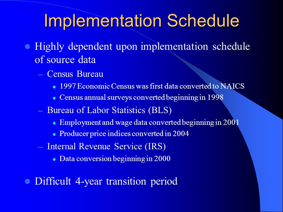 Implementation Schedule Highly dependent upon implementation schedule of source data – Census Bureau 1997 Economic Census was first data converted to NAICS Census annual surveys converted beginning in 1998 – Bureau of Labor Statistics (BLS) Employment and wage data converted beginning in 2001 Producer price indices converted in 2004 – Internal Revenue Service (IRS) Data conversion beginning in 2000 Difficult 4-year transition period