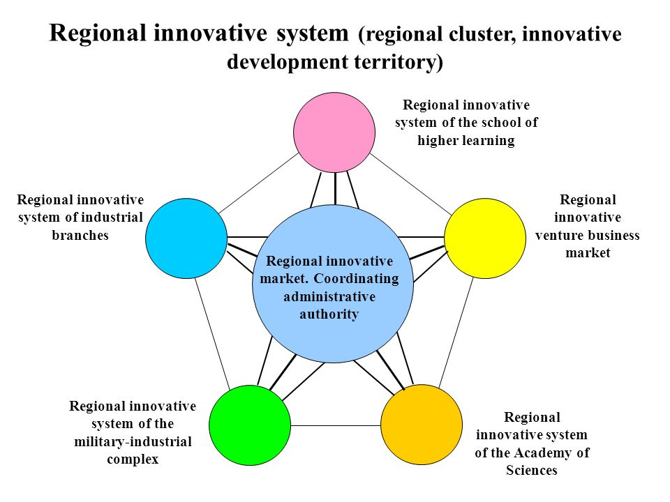 Regional innovative system of the school of higher learning Regional innovative venture business market Regional innovative system of the Academy of Sciences Regional innovative system of the military-industrial complex Regional innovative system of industrial branches Regional innovative system (regional cluster, innovative development territory) Regional innovative market.