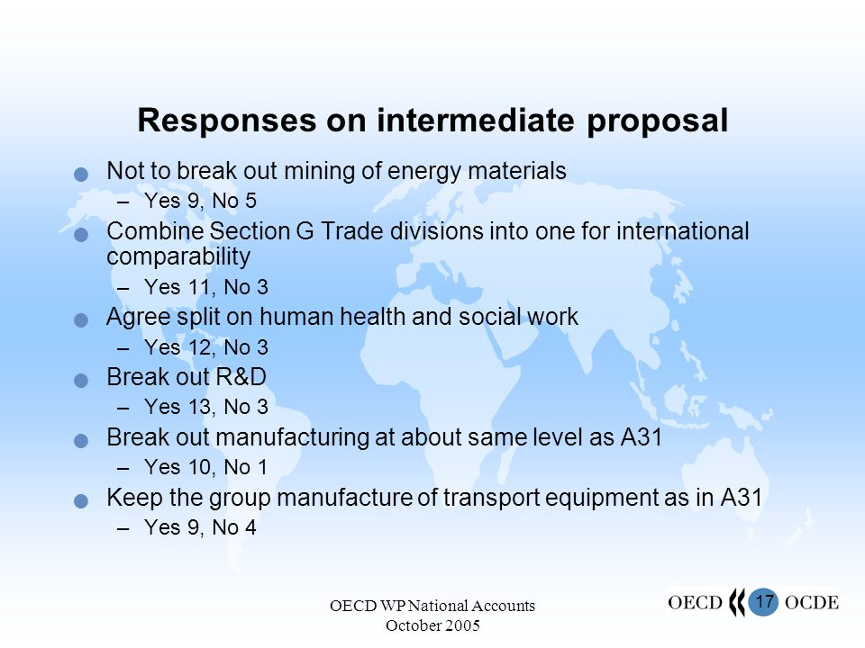 17 OECD WP National Accounts October 2005 Responses on intermediate proposal Not to break out mining of energy materials –Yes 9, No 5 Combine Section G Trade divisions into one for international comparability –Yes 11, No 3 Agree split on human health and social work –Yes 12, No 3 Break out R&D –Yes 13, No 3 Break out manufacturing at about same level as A31 –Yes 10, No 1 Keep the group manufacture of transport equipment as in A31 –Yes 9, No 4