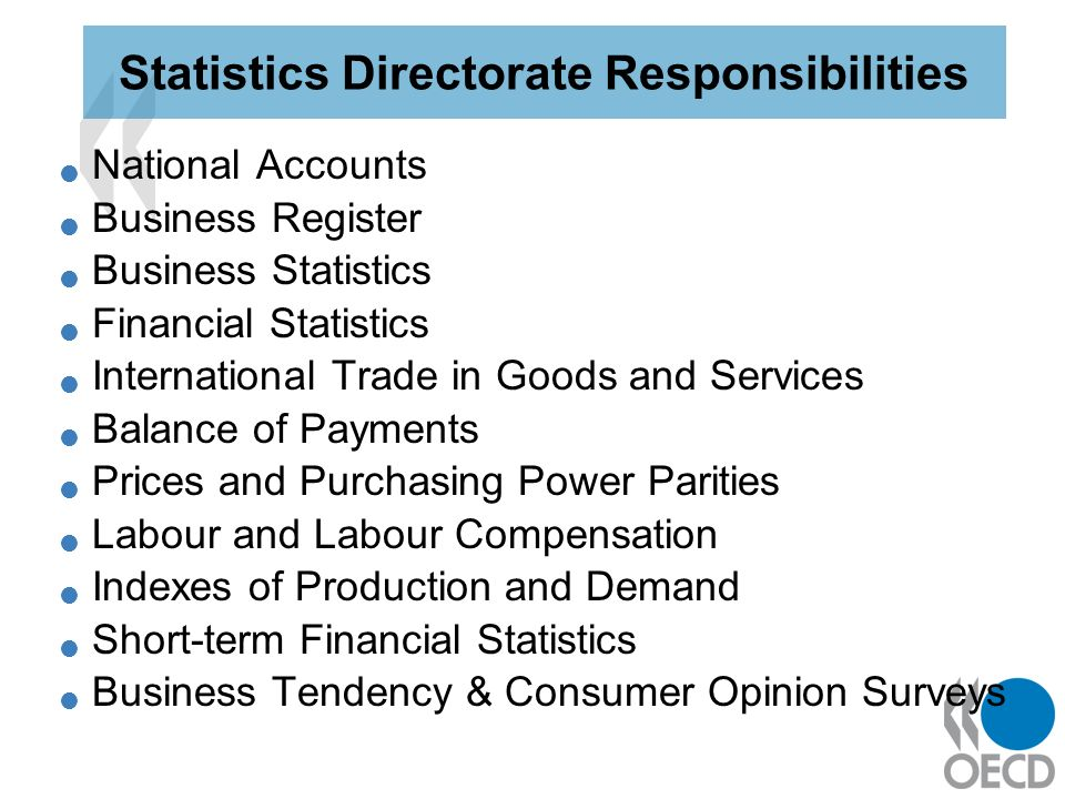 National Accounts Business Register Business Statistics Financial Statistics International Trade in Goods and Services Balance of Payments Prices and Purchasing Power Parities Labour and Labour Compensation Indexes of Production and Demand Short-term Financial Statistics Business Tendency & Consumer Opinion Surveys Statistics Directorate Responsibilities