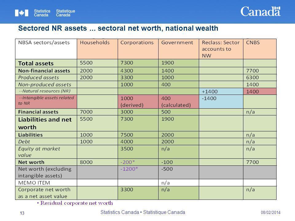 Proposed CSNA treatment, cont`d 08/02/2014 Statistics Canada Statistique Canada 13 INSERT MATRIX HERE Sectored NR assets...