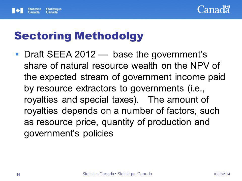 Sectoring Methodolgy Draft SEEA 2012 base the governments share of natural resource wealth on the NPV of the expected stream of government income paid by resource extractors to governments (i.e., royalties and special taxes).