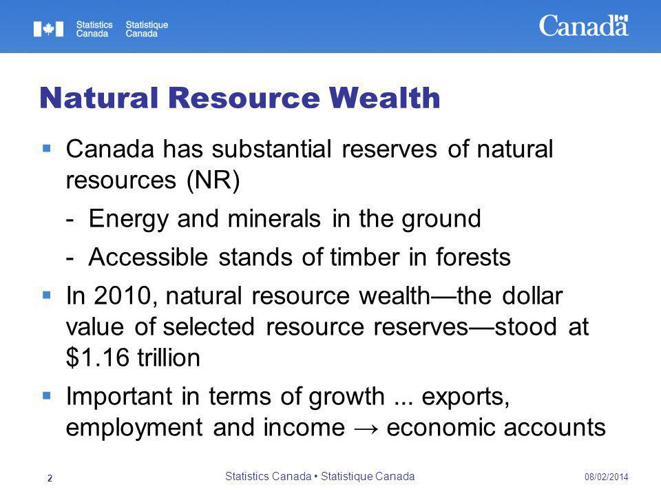 08/02/2014 Statistics Canada Statistique Canada 2 Natural Resource Wealth Canada has substantial reserves of natural resources (NR) - Energy and minerals in the ground - Accessible stands of timber in forests In 2010, natural resource wealththe dollar value of selected resource reservesstood at $1.16 trillion Important in terms of growth...