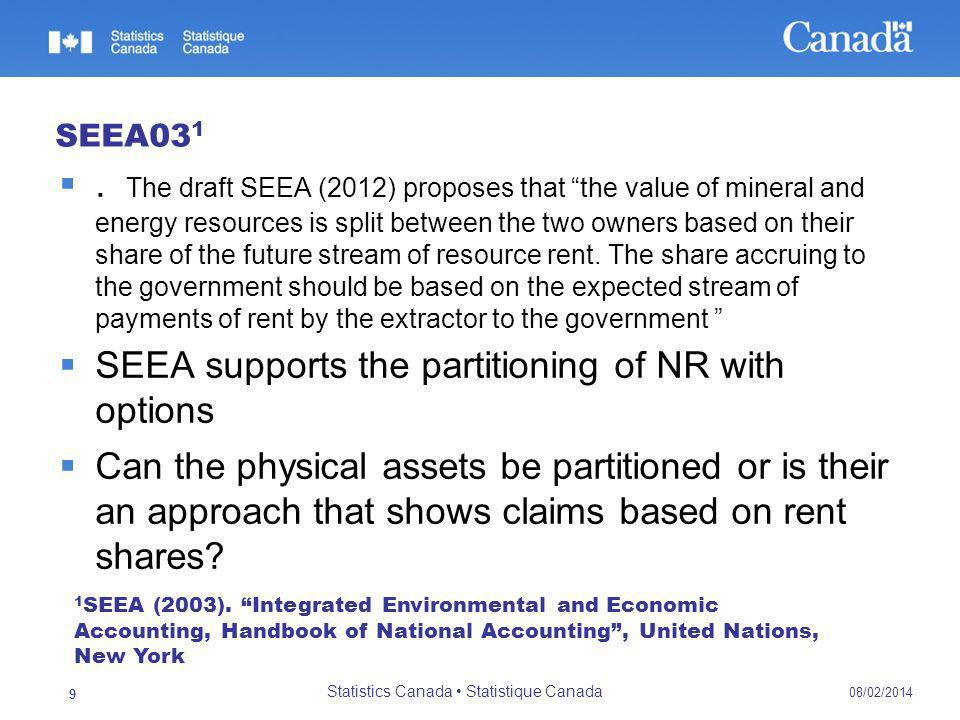 SEEA03 1. The draft SEEA (2012) proposes that the value of mineral and energy resources is split between the two owners based on their share of the fu