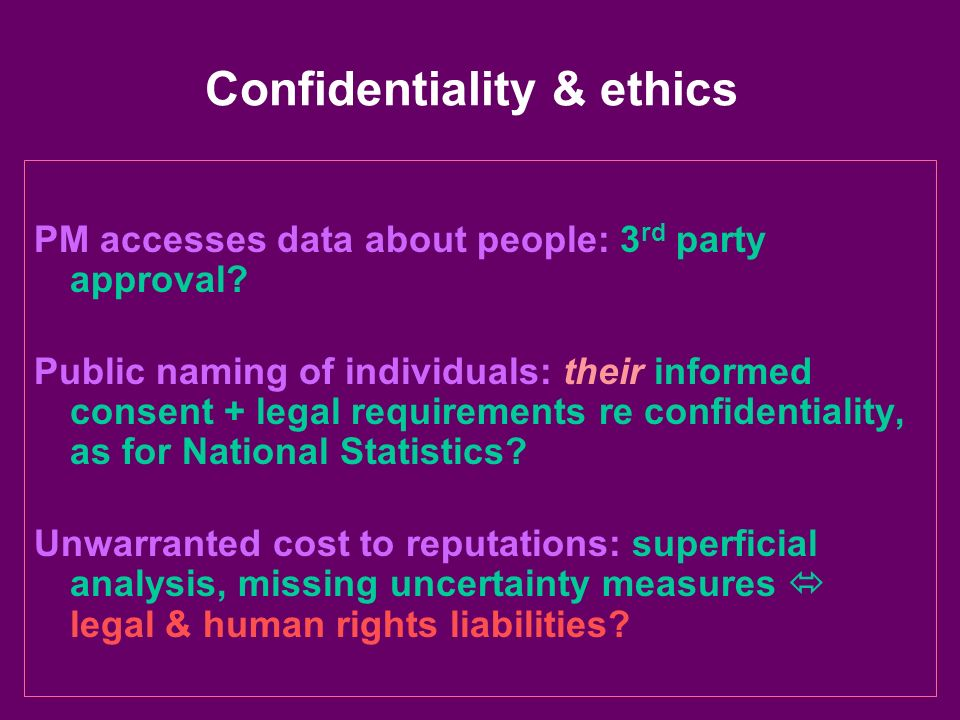 Confidentiality & ethics PM accesses data about people: 3 rd party approval? Public naming of individuals: their informed consent + legal requirements