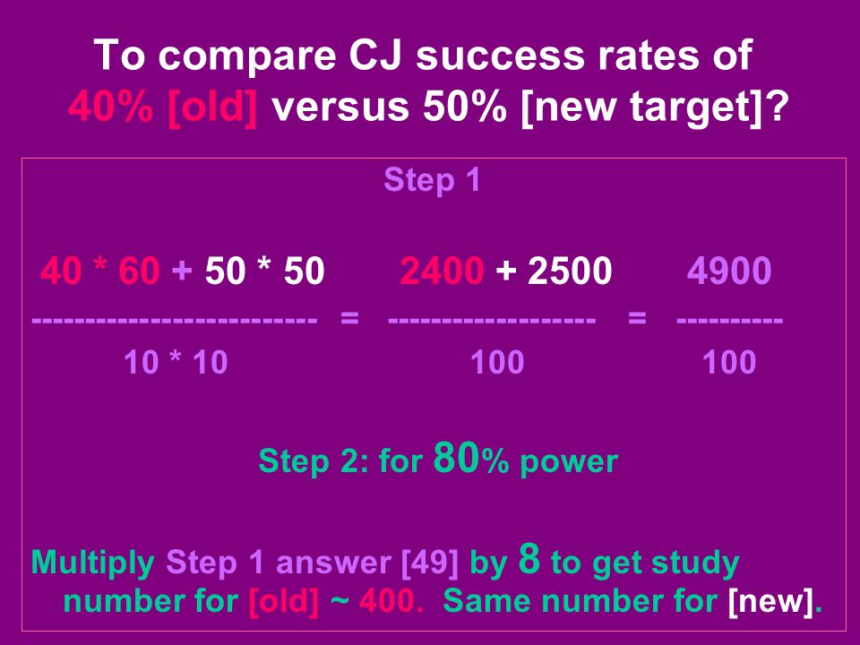 To compare CJ success rates of 40% [old] versus 50% [new target]? Step 1 40 * 60 + 50 * 50 2400 + 2500 4900 -------------------------- = -------------