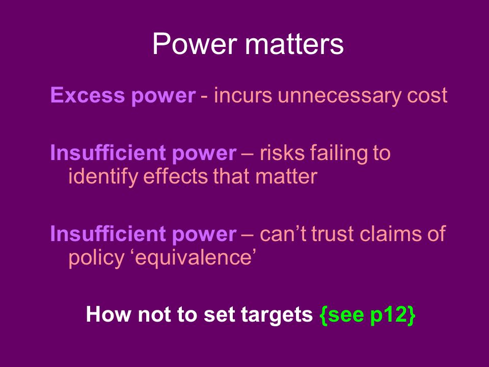 Power matters Excess power - incurs unnecessary cost Insufficient power – risks failing to identify effects that matter Insufficient power – cant trust claims of policy equivalence How not to set targets {see p12}
