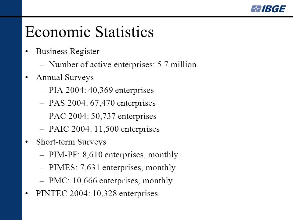 Economic Statistics Business Register –Number of active enterprises: 5.7 million Annual Surveys –PIA 2004: 40,369 enterprises –PAS 2004: 67,470 enterp