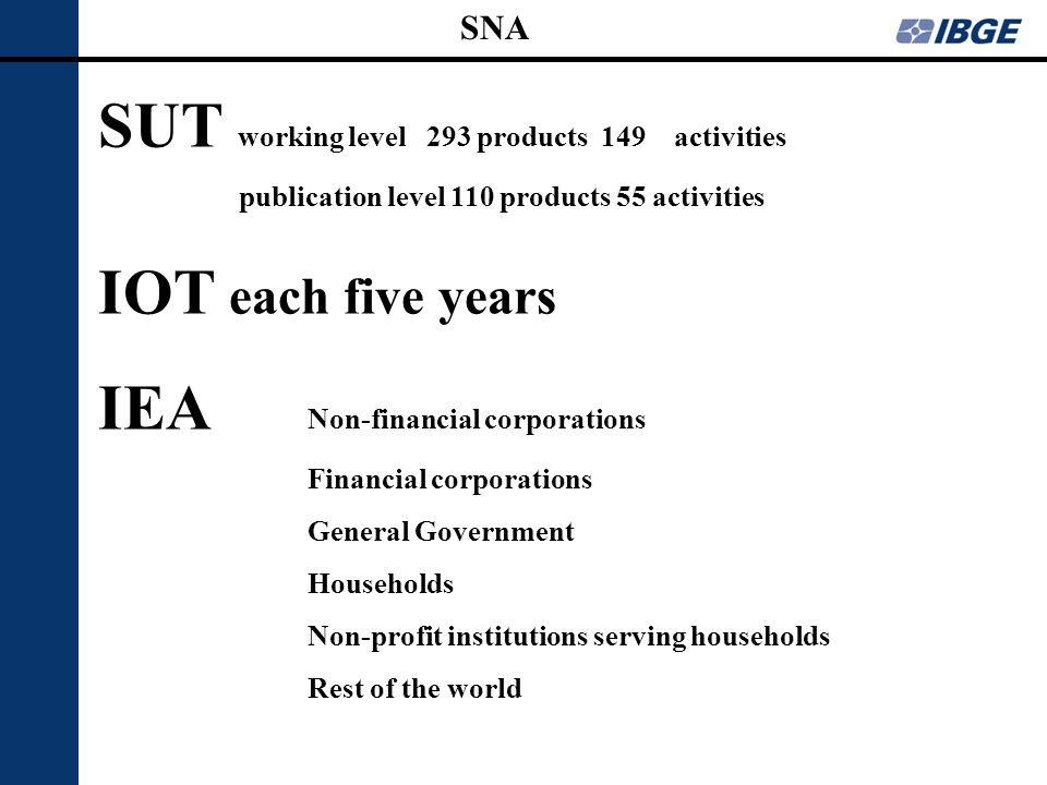 SUT working level 293 products 149 activities publication level 110 products 55 activities IOT each five years IEA Non-financial corporations Financia
