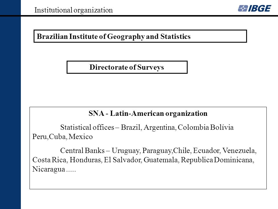 Institutional organization Brazilian Institute of Geography and Statistics Directorate of Surveys SNA - Latin-American organization Statistical office