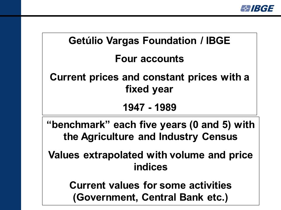 Getúlio Vargas Foundation / IBGE Four accounts Current prices and constant prices with a fixed year 1947 - 1989 benchmark each five years (0 and 5) wi