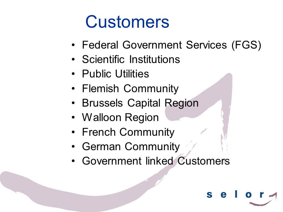 Customers Federal Government Services (FGS) Scientific Institutions Public Utilities Flemish Community Brussels Capital Region Walloon Region French C