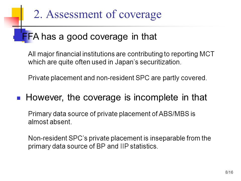 2. Assessment of coverage FFA has a good coverage in that However, the coverage is incomplete in that All major financial institutions are contributin