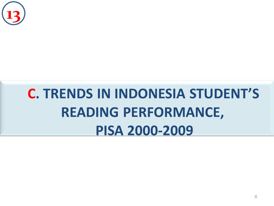 C. TRENDS IN INDONESIA STUDENTS READING PERFORMANCE, PISA 2000-2009 B 6 13