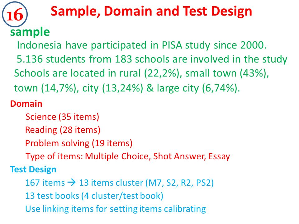 Sample, Domain and Test Design sample Domain Science (35 items) Reading (28 items) Problem solving (19 items) Type of items: Multiple Choice, Shot Answer, Essay Test Design 167 items 13 items cluster (M7, S2, R2, PS2) 13 test books (4 cluster/test book) Use linking items for setting items calibrating Indonesia have participated in PISA study since 2000.