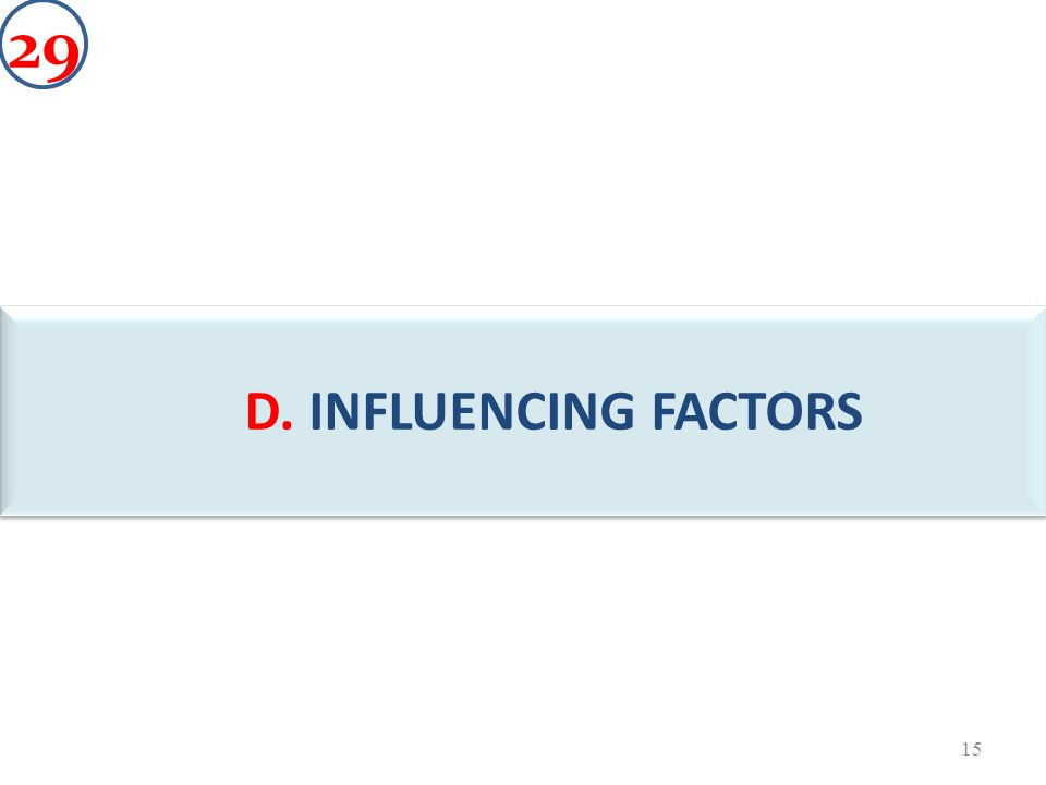 D. INFLUENCING FACTORS C 15 29