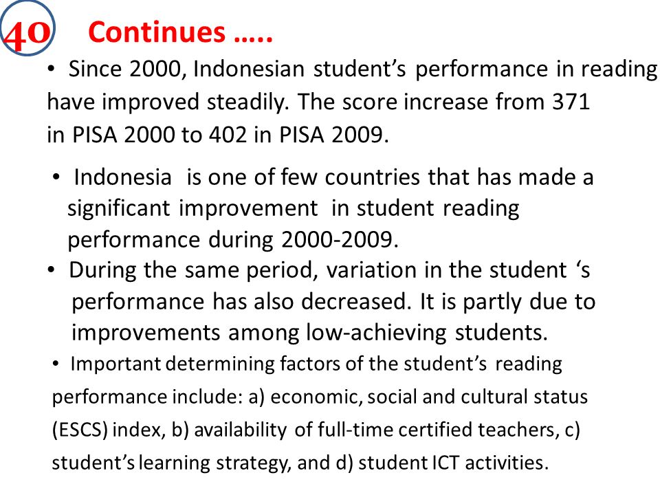 Continues ….. Since 2000, Indonesian students performance in reading have improved steadily. The score increase from 371 in PISA 2000 to 402 in PISA 2