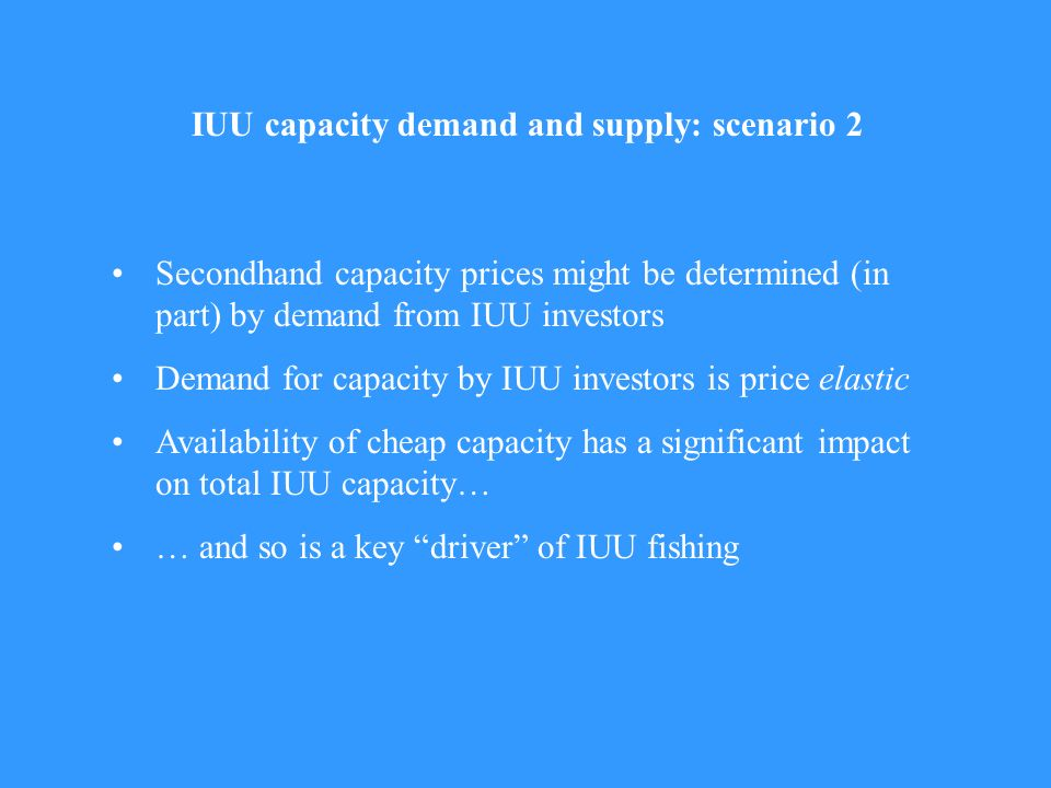 Secondhand capacity prices might be determined (in part) by demand from IUU investors Demand for capacity by IUU investors is price elastic Availabili