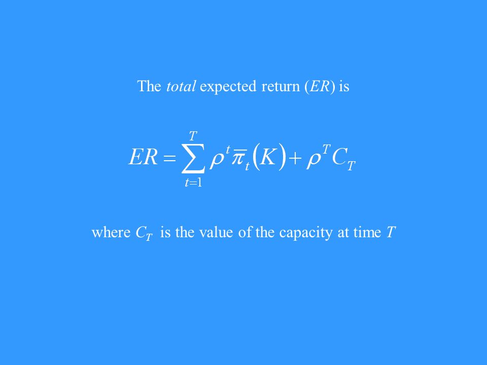 The total expected return (ER) is where C T is the value of the capacity at time T