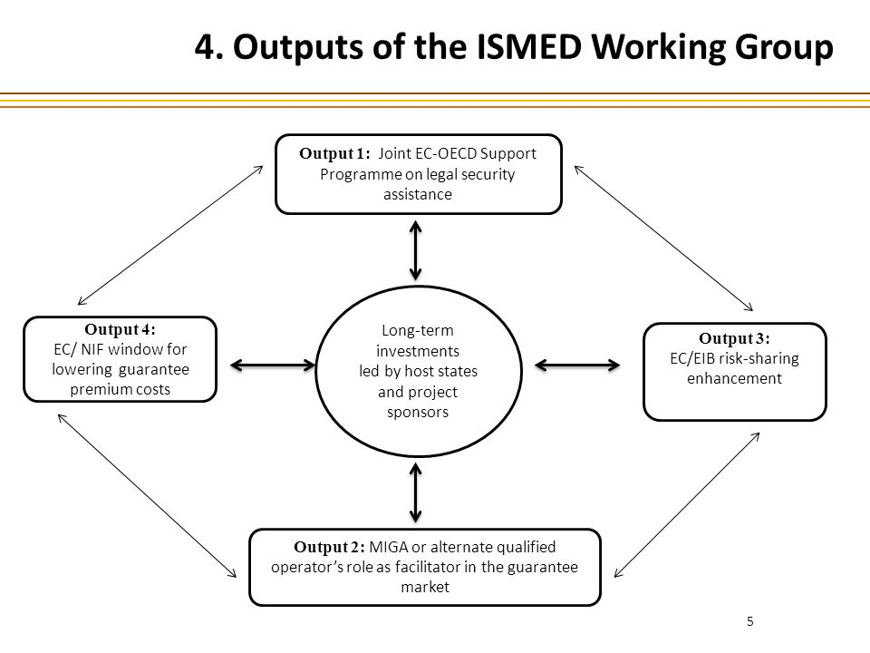 5 4. Outputs of the ISMED Working Group Output 4: EC/ NIF window for lowering guarantee premium costs Long-term investments led by host states and pro