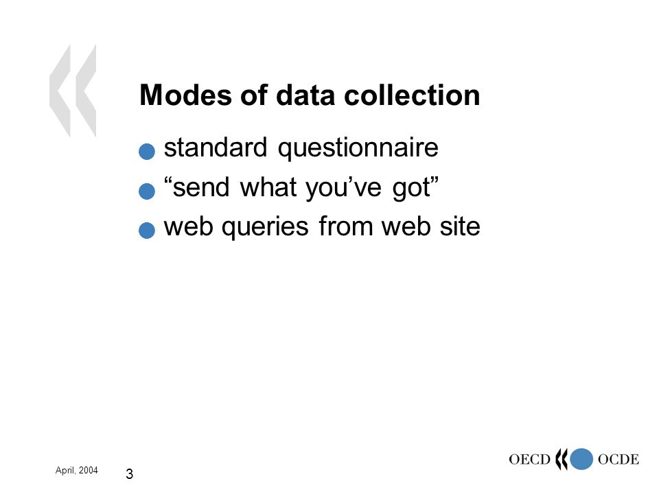 April, 2004 3 Modes of data collection standard questionnaire send what youve got web queries from web site