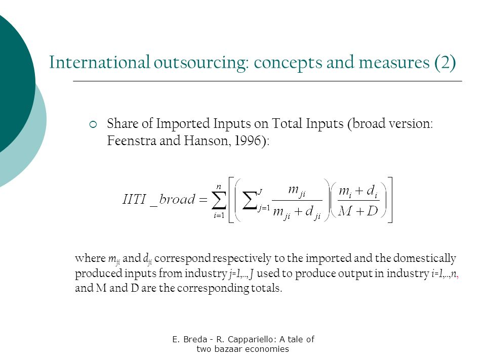 E. Breda - R. Cappariello: A tale of two bazaar economies Share of Imported Inputs on Total Inputs (broad version: Feenstra and Hanson, 1996): where m