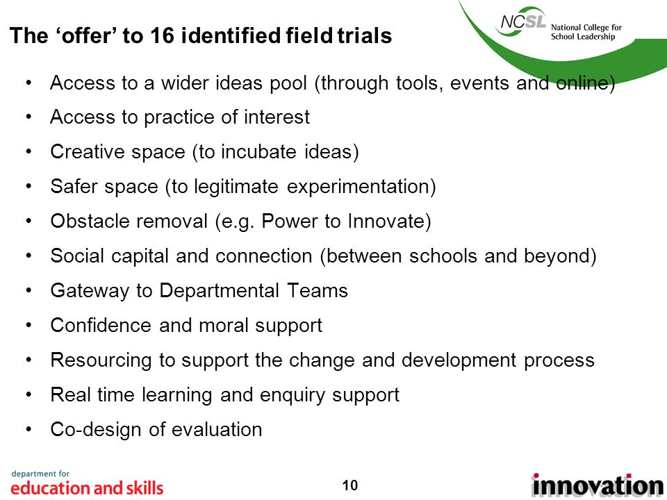 10 The offer to 16 identified field trials Access to a wider ideas pool (through tools, events and online) Access to practice of interest Creative space (to incubate ideas) Safer space (to legitimate experimentation) Obstacle removal (e.g.